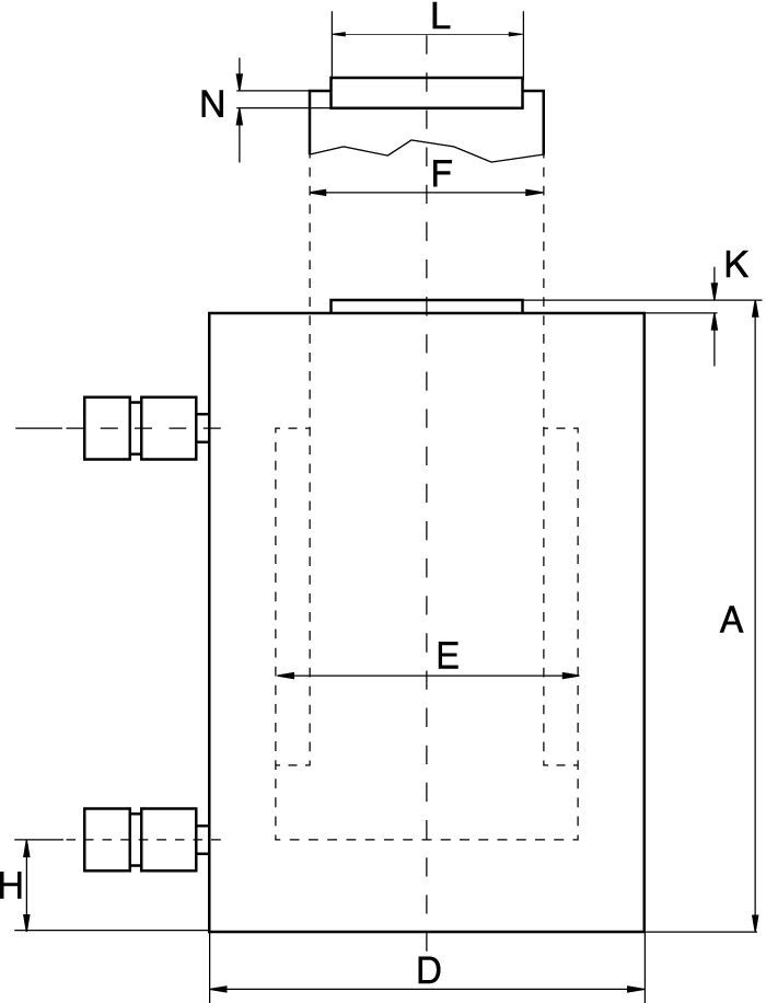 Double Acting High Tonnage Cylinders- technical drawing