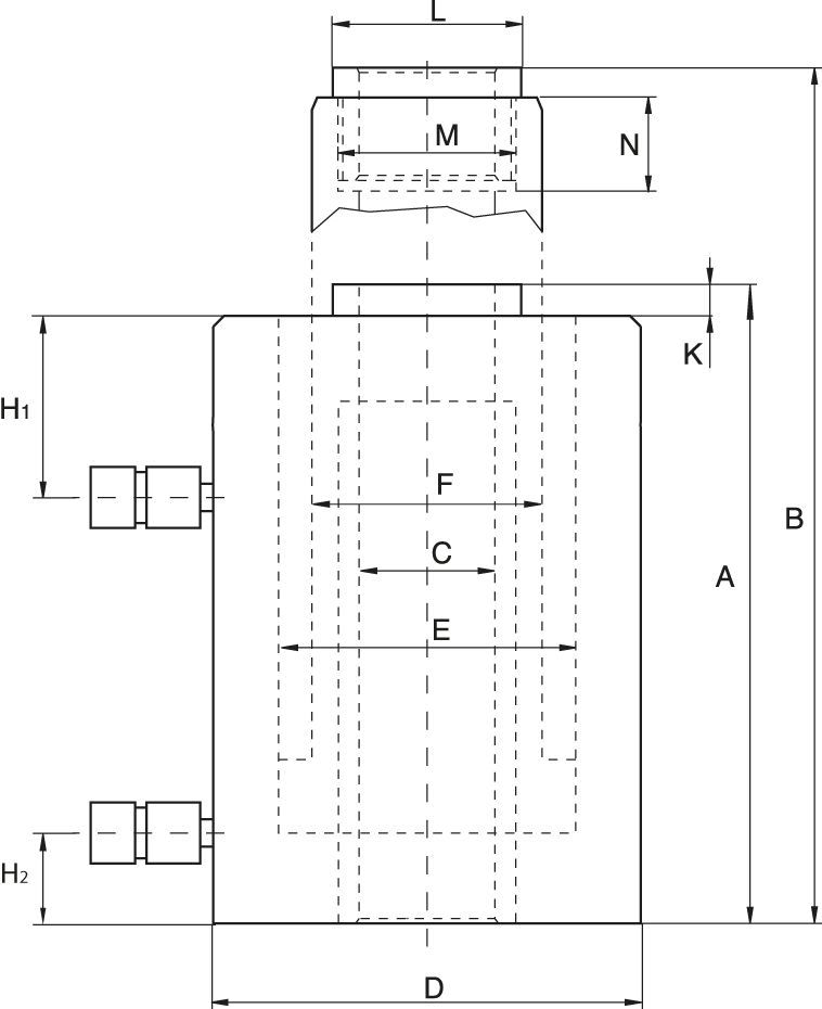 Plunger (Hollow) Cylinders, Single Acting Spring Return or Double Acting - Technical drawing