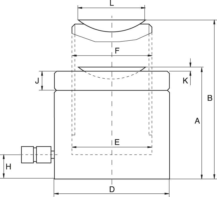 Pancake Lock Nut Cylinders, Load Return - Technical drawing