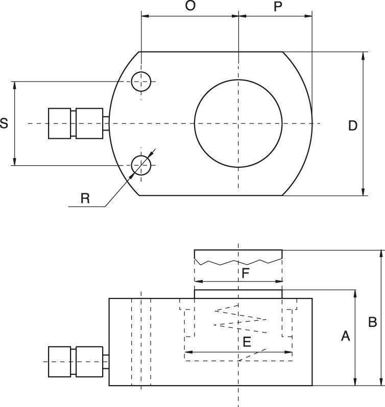 Low Height Cylinders, Load or Spring Return - drawing