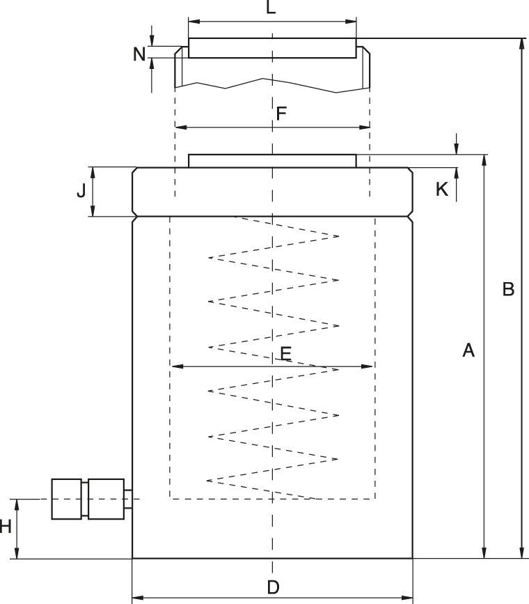Lock Nut Cylinders, Load Return - Technical drawing
