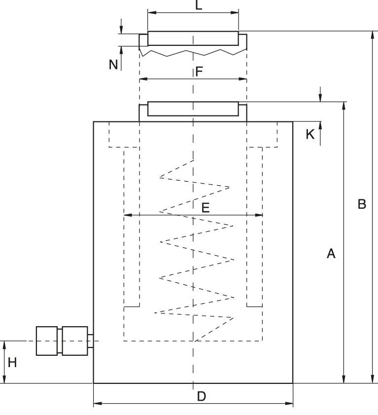 Single Acting Cylinders with spring return - drawing
