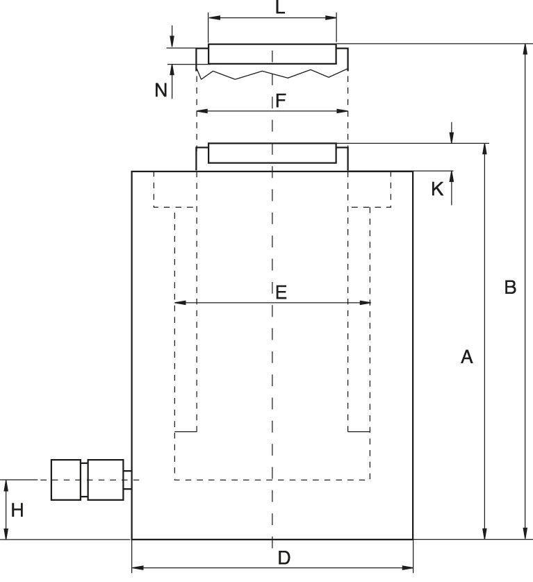 Low Height Cylinders, Load or Spring Return - technical drawing